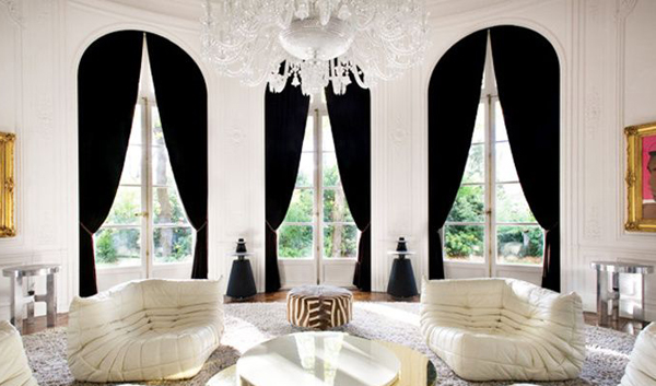 别墅大厅高窗窗帘效果图